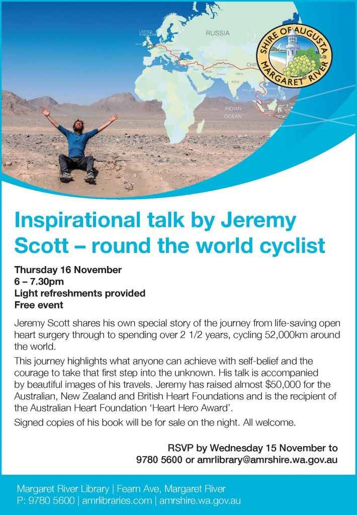 Inspirational talk by Jeremy Scott - round the world cyclist @ Margaret River Library