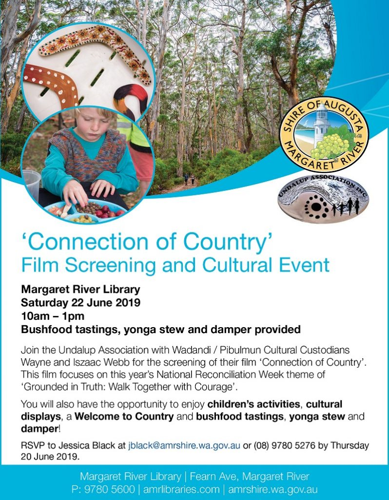 'Connection of Country' film screening and cultural event at the Library @ Margaret River Library
