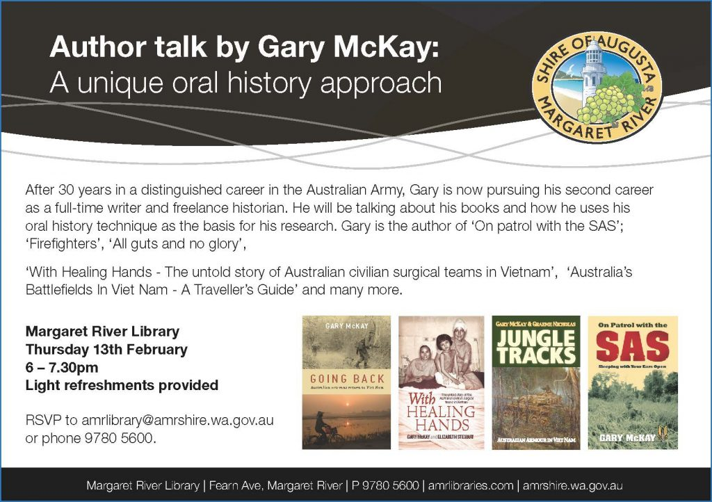 Author talk by Gary McKay: a unique oral history approach @ Margaret River Library