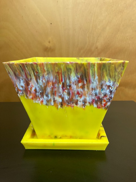 Yellow Planter made with 450 plastic lids from landfill by Precious Plastic Margaret River